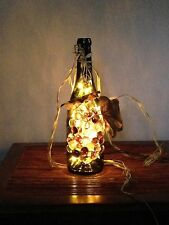 Handcrafted Lighted Wine Bottle w/ Glass Grapes