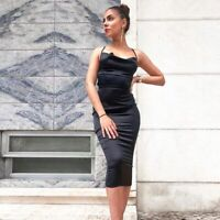 Women Summer Sweetheart Neck Spaghetti Sleeve Asymmetric Backless Bodycon Dress