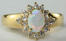 BNWOT CONTEMPORARY 18K GOLD OPAL DIAMOND LADIES RING SIZE 6.5