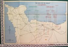 WW2 MAP D DAY LANDINGS PLAN FOR THE ASSAULT GOLD OMAH JUNO UTAH NORMANDY BEACHES