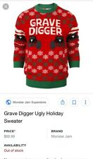Grave Digger ugly christmas sweater uni sex brand new SOLD OUT Monster Truck