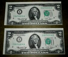 1976 $2 MISALIGNED ERROR  RARE Crisp & cut error & offset misaligned seals, AU