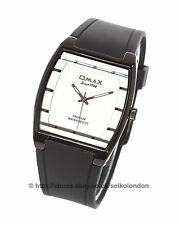 Omax Unisex White/Silver Dial Watch, Black Finish , Seiko (Japan) Movt.