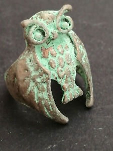 RARE ANCIENT ROMAN LEGIONARY SILVERED OWL RING ARTIFACT MILITARY