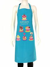 French Cooking Apron Cupcakes Turquoise 100% Cotton For The Chef