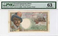 French Equatorial Africa 50 Francs ND (1947) P-23 PMG Ch. UNC 63