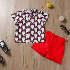 Toddler Baby Boys Short Sleeve Christmas Cartoon Print Shirt+ Solid Short Outfit