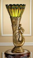 "28.5"" Art Deco Style Royal Peacock Illuminated Lamp Table Sculpture"