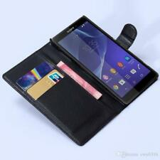 Black Wallet Plain Leather phone Case Card Slots for Sony Xperia-Z1 L39H Uk Post
