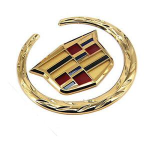 Gold Wreath Crest Rear Trunk 3D Emblem Badge Sticker for Cadillac Escalade CTS