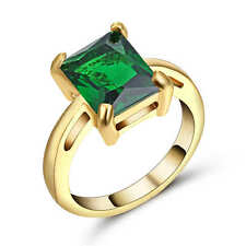 Green Emerald Wedding Band Ring 18K Yellow Gold Filled Valentines Gift Size 7