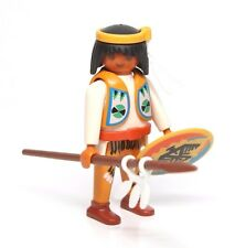 Playmobil Figure Western Indian Warrior Spear Knife Shield Feather Headband 3872