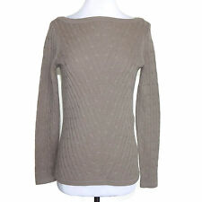 SAKS FIFTH AVENUE 100% Cashmere Mocha Cable Knit Boatneck Sweater size Small