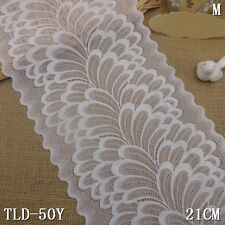 """1 Yard White Floral Scalloped Stretch Lace Trim For DIY Craft Lingerie Wide 8"""""""