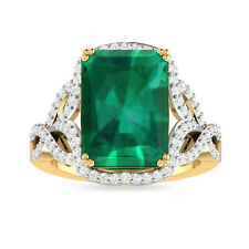 Emerald White Gold Plated Radiant Cut Baguette Emerald Engagement Ring For Women