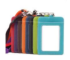 ID Badge Card Holder P-U Leather Vertical Clip Neck Strap Lanyard Necklace Case