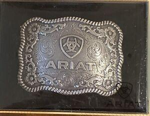 Ariat Western Belt Buckle Scalloped Logo Rectangular Silver A37006
