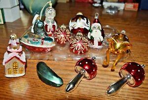 Vintage Lot 12 Christmas Tree Ornaments Glass Hand Blown Czech Germany Figures