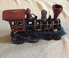 "Vintage Large Heavy Cast Iron Train Steam Engine Locomotive Candle Holder 14"" Lo"