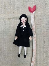 More details for 1.12 scale miniature wednesday addams jointed doll for dolls house