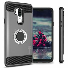 Gray Shockproof Phone Case for LG G7 ThinQ Tough Hard Cover w/ Grip Ring