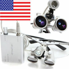 Dental Surgical Medical Binocular Loupes 3.5X420mm LED Head Light Lamp Magnifier