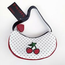 Retro Rockabilly Punk 60s 80s Vegan Cherry Black Polka Dot White Purse Handbag