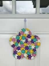 Crafter's Square Flower Power Hanging Wall Decor  (Wood)  Multicolored Flowers
