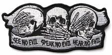 SKULLS - SEE NO EVIL, SPEAK NO EVIL, HEAR NO EVIL - IRON or SEW ON PATCH