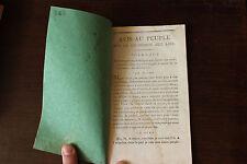 ✒ Convention NATIONALE Avis peuple Soumission aux Lois 1793 religion RARE