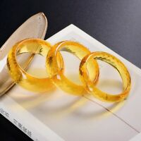 Natural Yellow Citrine Quartz Carved Faceted Cut Women Bracelet Bangle 57mm AAAA