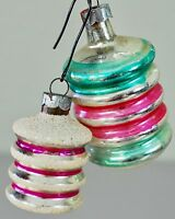 PAIR Vintage Mercury Glass Christmas Ornament Lantern Mica Frost Shiny Brite USA