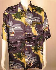 Hawaiian Mens Camp Shirt XL Sailboats Blue Tropical Islands Sailing Ocean