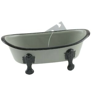 "Black Rimmed Iron Bathtub Soap Dish Holder Retro 5.5"" Wide Light Gray"