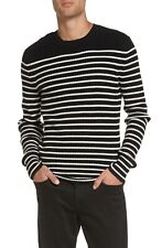 Vince Men's Sweater XL Black Ivory Breton Striped Cashmere Crew Neck $385