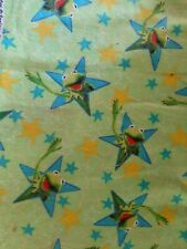 Cotton Flannel Fabric Kermit Frog Green Star Muppets Disney by Springs Rare Htf