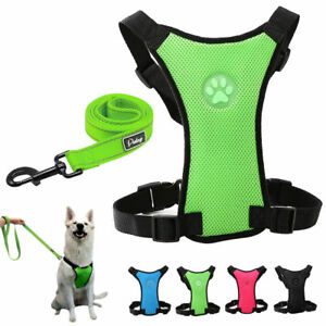 Mesh Dog Car Harness Vehicle Seat Belt Vest Safety Clip Small to Large Dog Leash