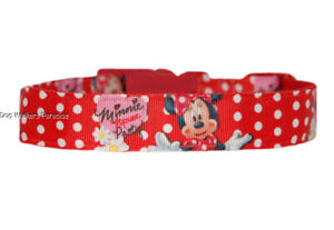 """red minnie mouse  medium large dog/puppy collar 1"""" cushioned"""