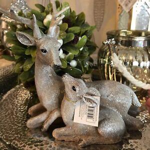 Beautiful Deer & Fawn Sculpture Glittered Resin Christmas Ornament