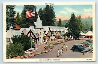 Lake Arrowhead, CA - EARLY VIEW OF SHOPPING VILLAGE & OLD CARS - POSTCARD