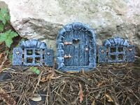 New Fairy Door +  Fairy Windows Set GREY . Secret Garden Elf/ Pixie Door