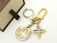 Louis Vuitton Auth Metal Gold Silver Porte Cles insolence Key Chain Bag Charm LV