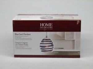 Home Decorators Collection 1-light Blue Swirl Art Glass Ceiling Pendant