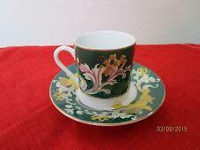 Porzellan Mocca Tasse + Untertasse - grün + floral + Engel bzw. Putten  /S62