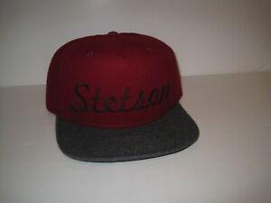 STETSON WOOL BLEND BASEBALL CAP HAT DARK RED