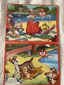 Lot of 2 VTG Disney Frame Tray 30 pc Puzzles Lady & Tramp Saludos Amigos