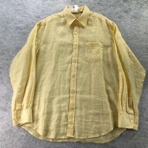 Tommy Bahama Mens Yellow 100% Linen Long Sleeve Button Up Shirt Size Medium