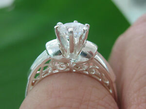 """REAL 925 sterling silver white CZ """"ENGAGEMENT"""" RING big size G to X - GIRL WOMEN"""