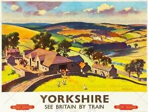 YORKSHIRE ENGLAND UK DALE VALLEY LANDSCAPE FARM GEESE ART PRINT POSTER BB10036