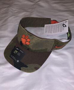Men's Clemson Tigers Nike Camo Performance Team Adjustable Visor Hat Cap NWT